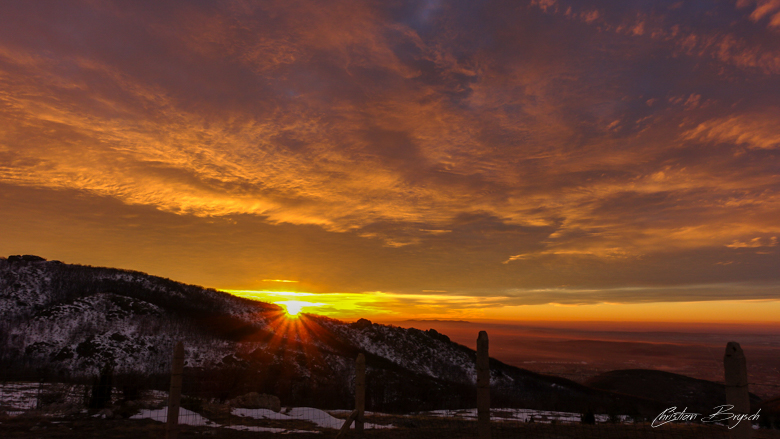 Sunrise over Balkan mountain